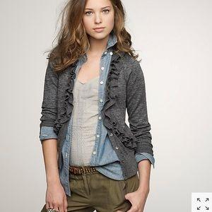 J Crew Heather Gray Transversa Cardigan Sweater M